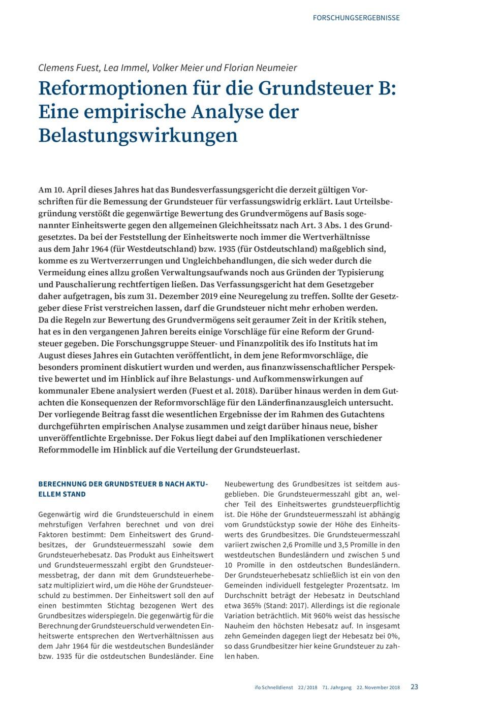 Reformoptionen Für Die Grundsteuer B Eine Empirische Analyse Der