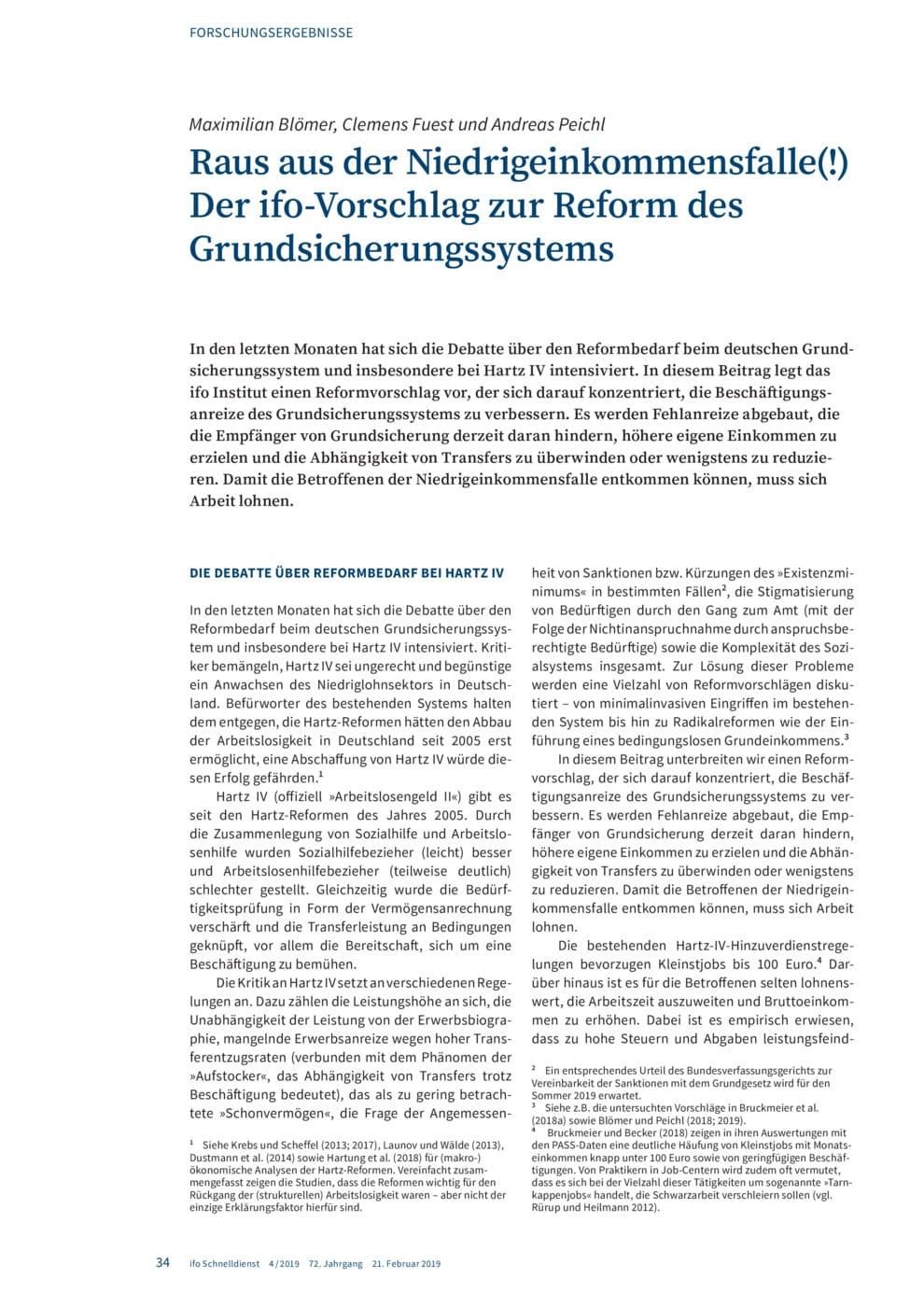 Raus aus der Niedrigeinkommensfalle(!) – Der ifo-Vorschlag